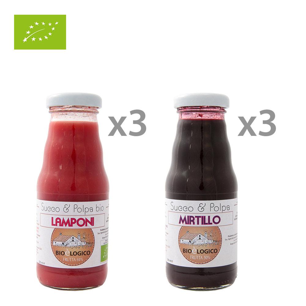 Image of 6 bottiglie miste 200 ml: 3 Lamponi senza zucchero BIO - 3 Mirtillo senza zucchero BIO