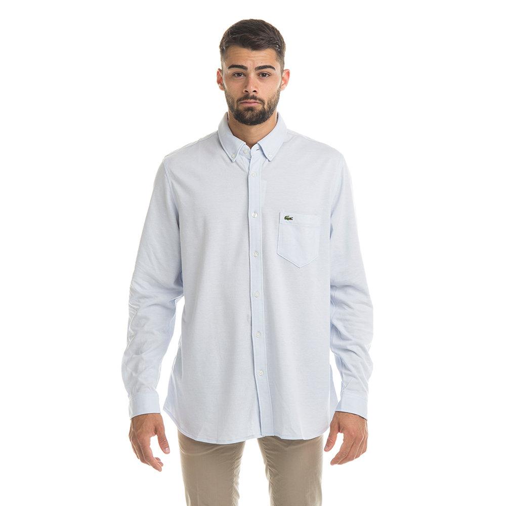 Camicia uomo slim fit collo botton down cotone piquet tinta unita azzurro