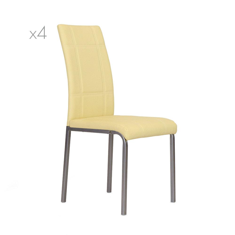 Set da 4 sedia kade in similpelle crema speciale for Sedie in similpelle