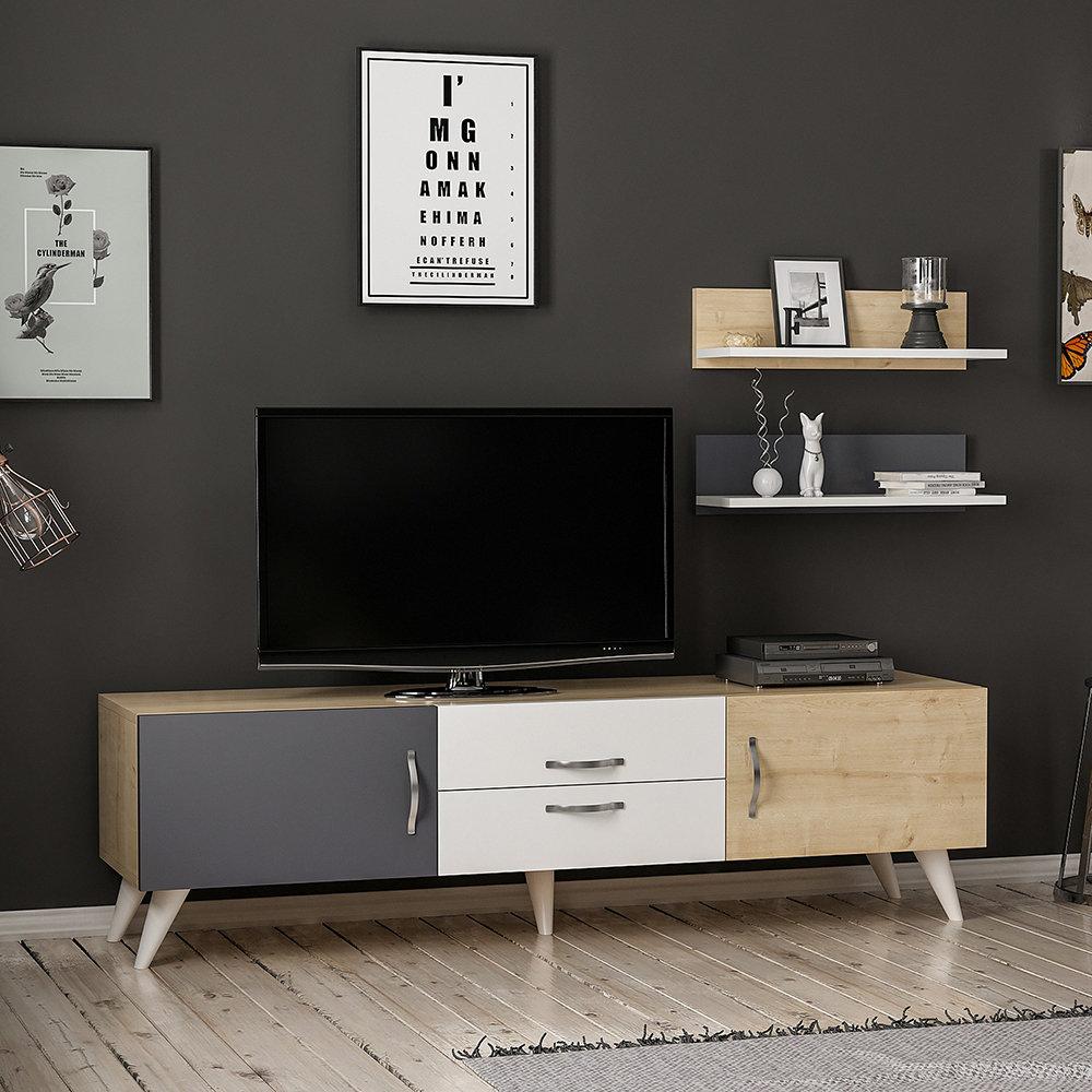 Mobile porta tv only bianco quercia antracite casa for Nuova arredo inserimenti