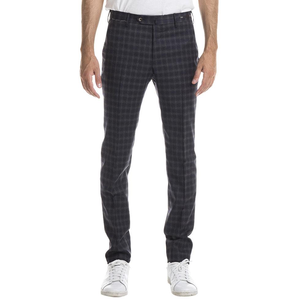 Pantaloni in lana vergine fantasia check grigio scuro e blu