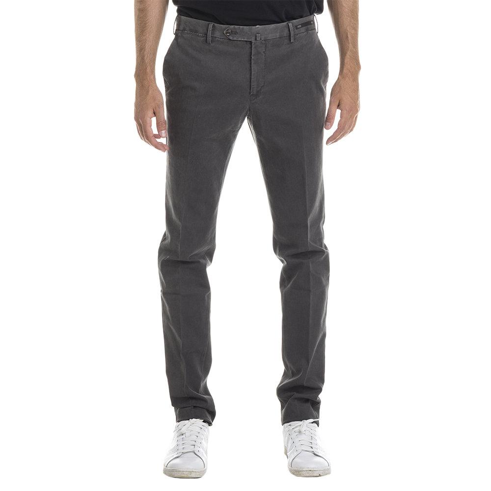 Pantaloni in cotone stretch grigio scuro delavè