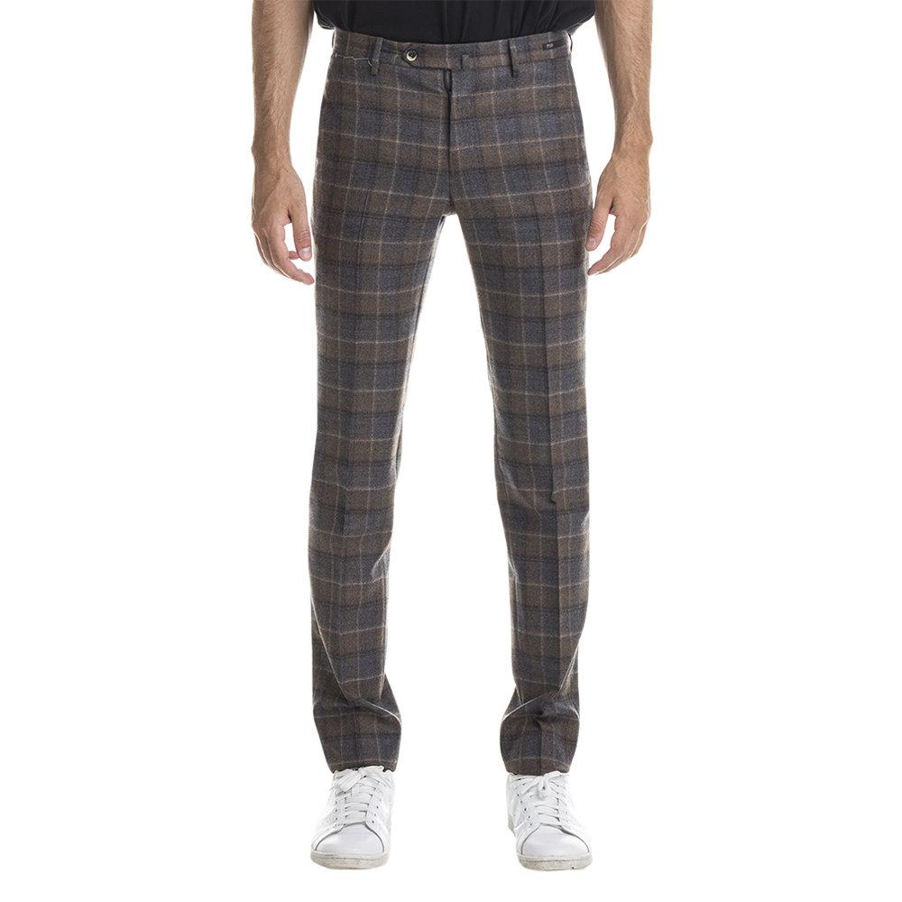 Pantaloni in lana check grigio e marrone