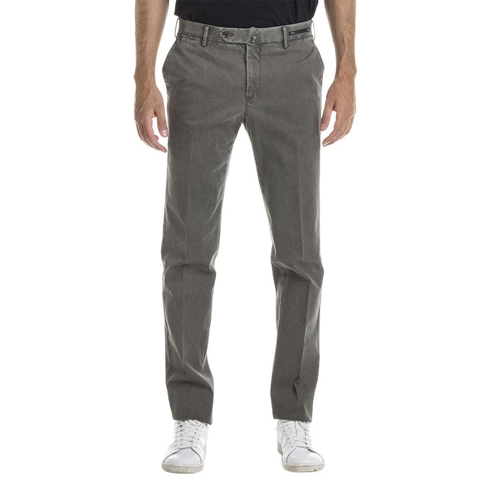 Pantaloni in cotone stretch grigio verde delavè