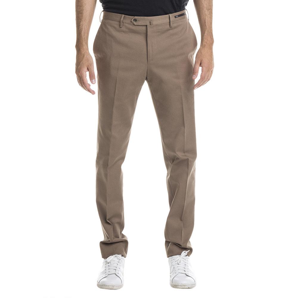 Pantaloni tailored in cotone stretch nocciola