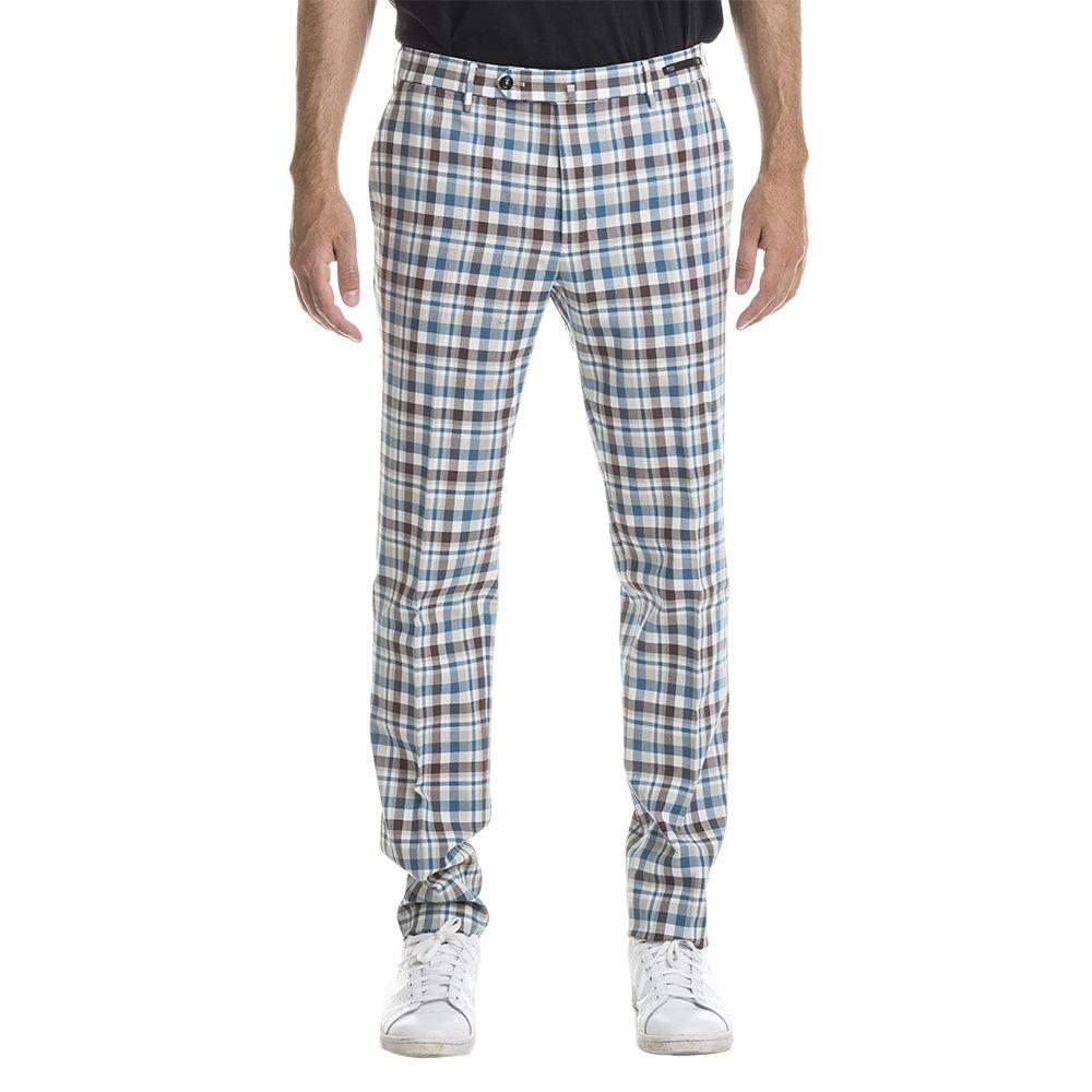 Pantaloni in cotone check multicolor