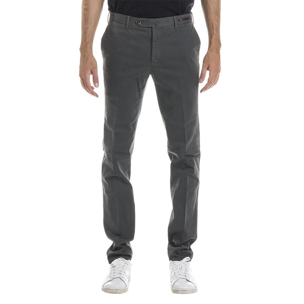 Pantaloni slim fit in cotone stretch verde militare