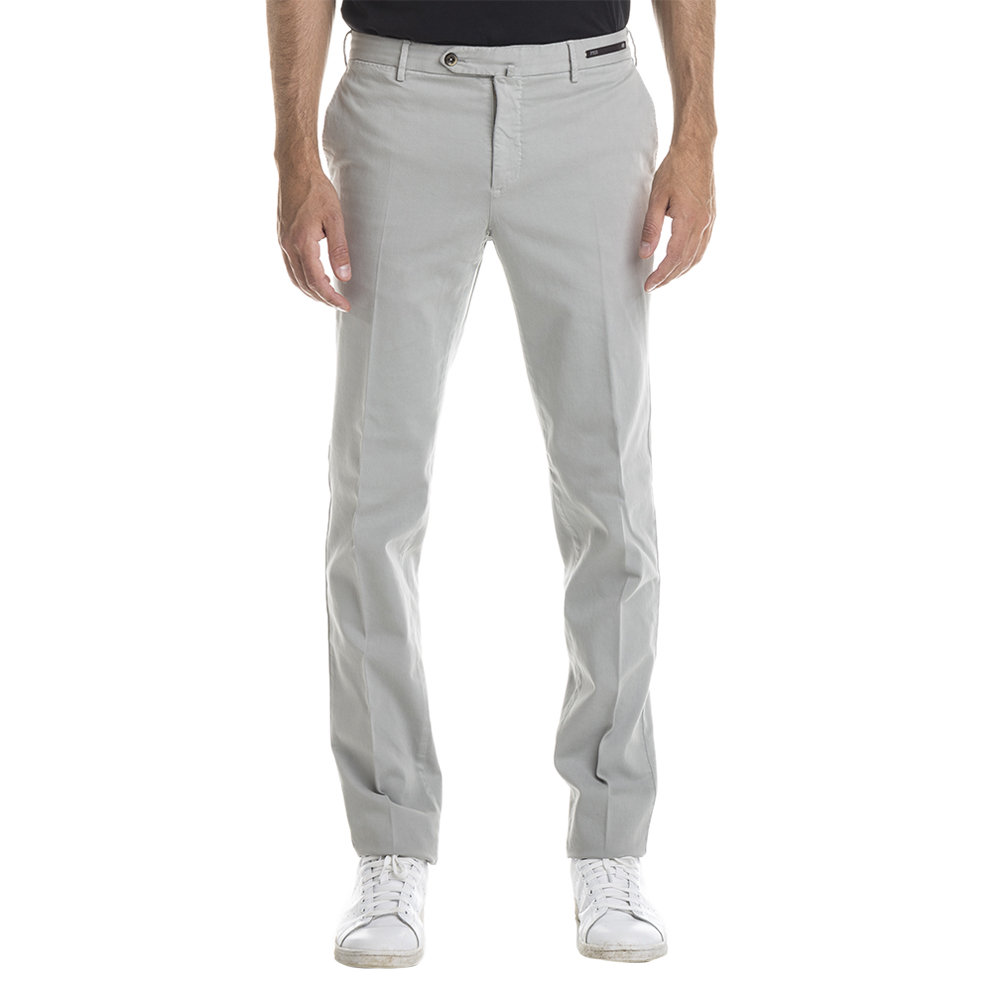 Image of Pantaloni in cotone e kashmir grigio perla