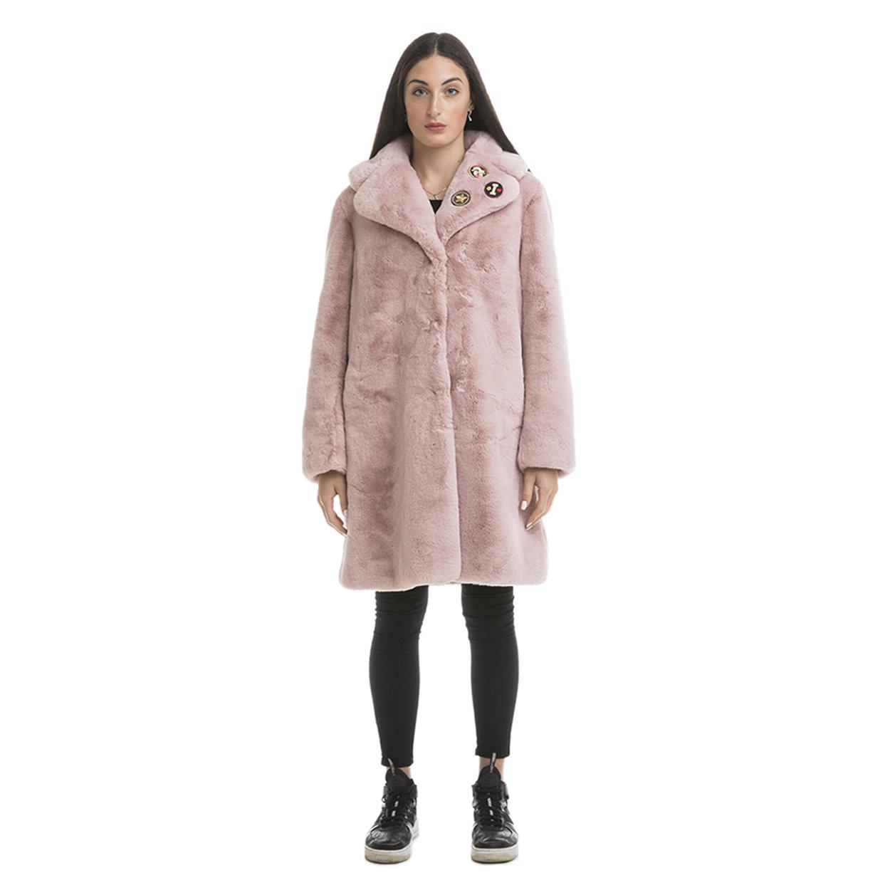the latest 09fa3 f0f74 Cappotto donna in tessuto fake fur rosa