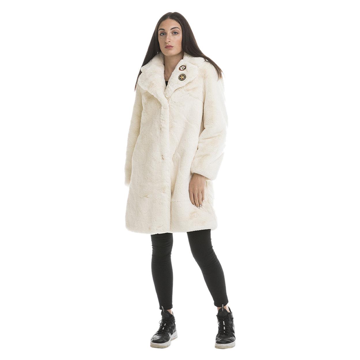 Cappotto donna in tessuto fake fur panna Invicta Capispalla Acquista su Ventis.