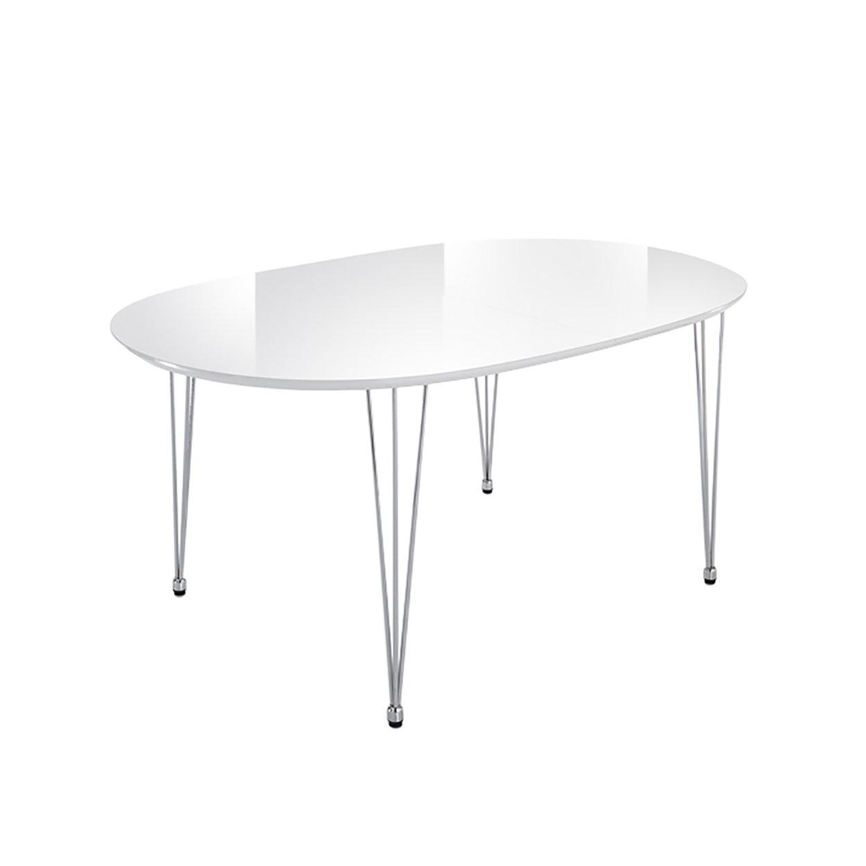 Tavolo ovale allungabile ELEGANT, bianco/cromo - Black e White - Acquista  su Ventis.
