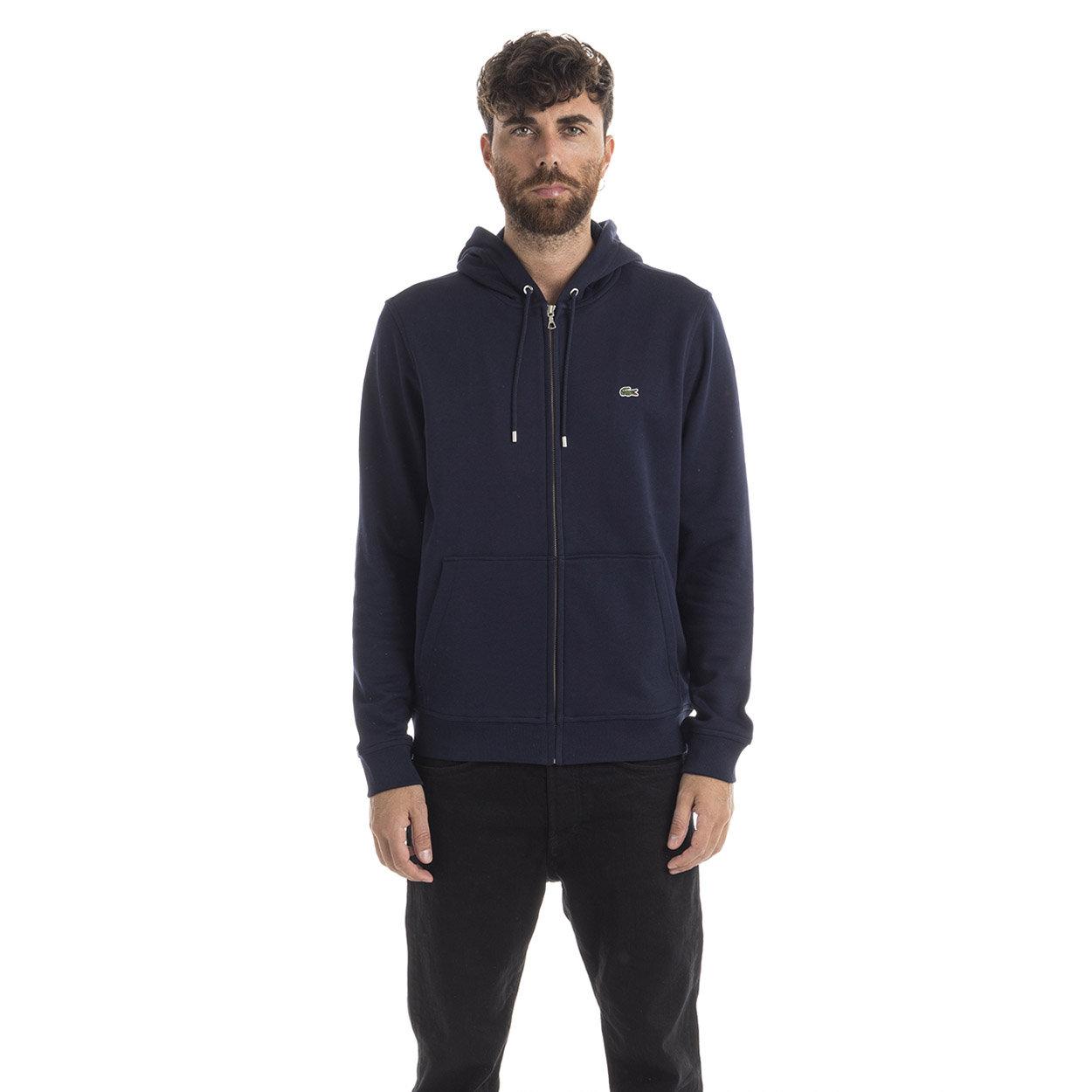 Image of Felpa con zip e cappuccio blu
