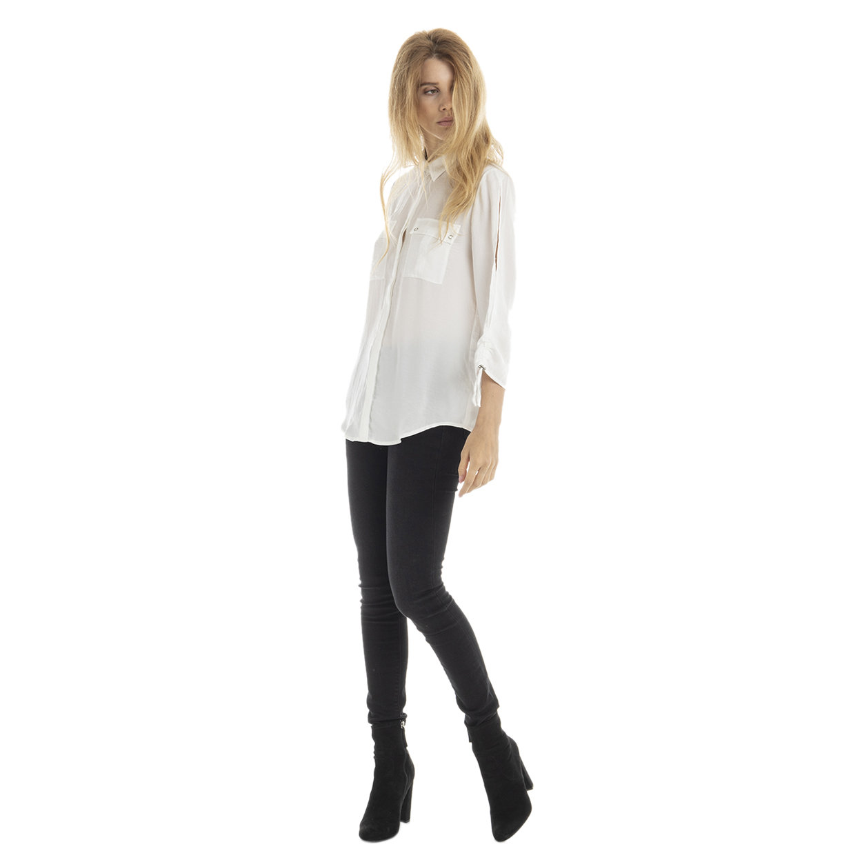 Camicia con tasche a toppa bianca