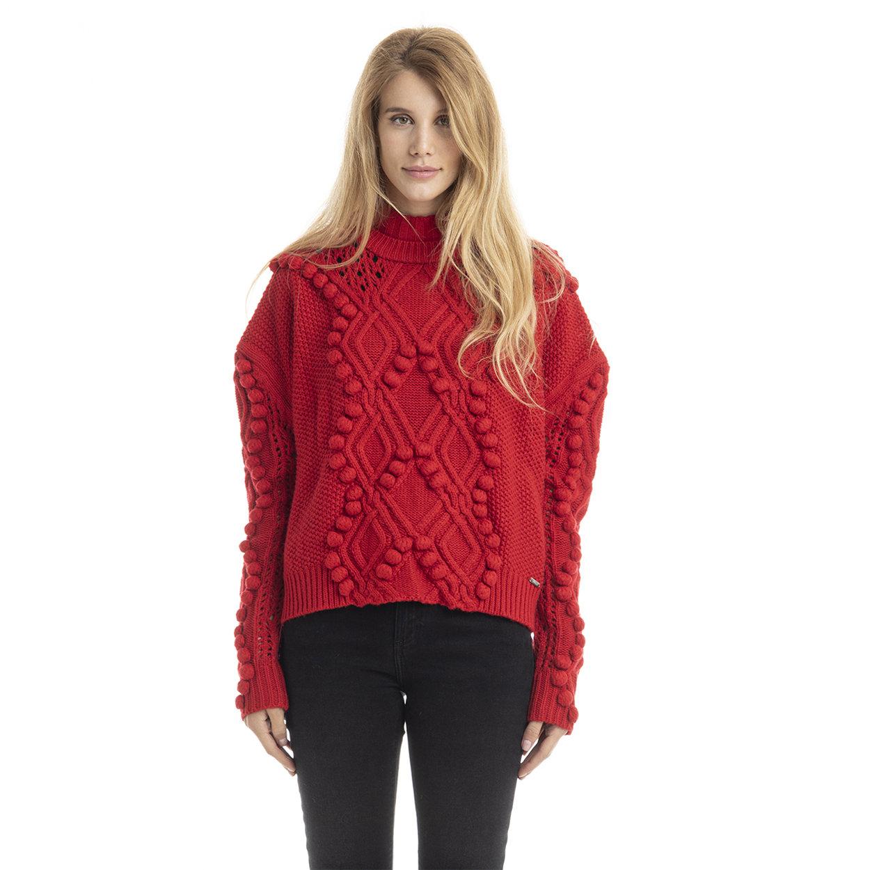 Maglia traforata con collo alto rossa Guess Jeans Acquista su Ventis.