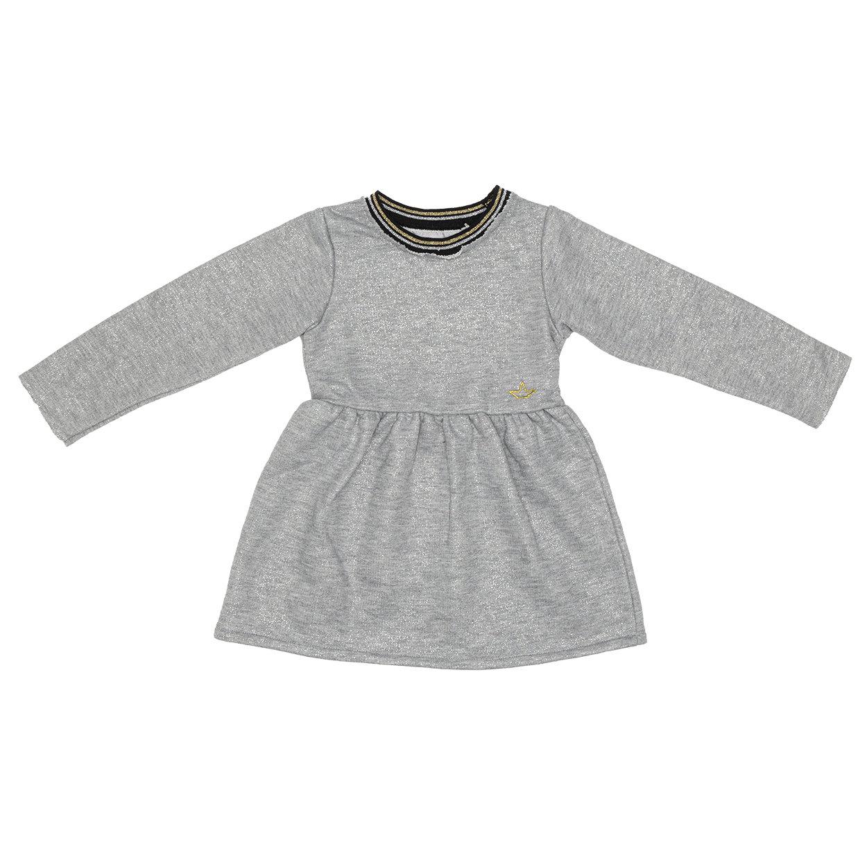 Image of Abito bimba grigio con glitter a maniche lunghe