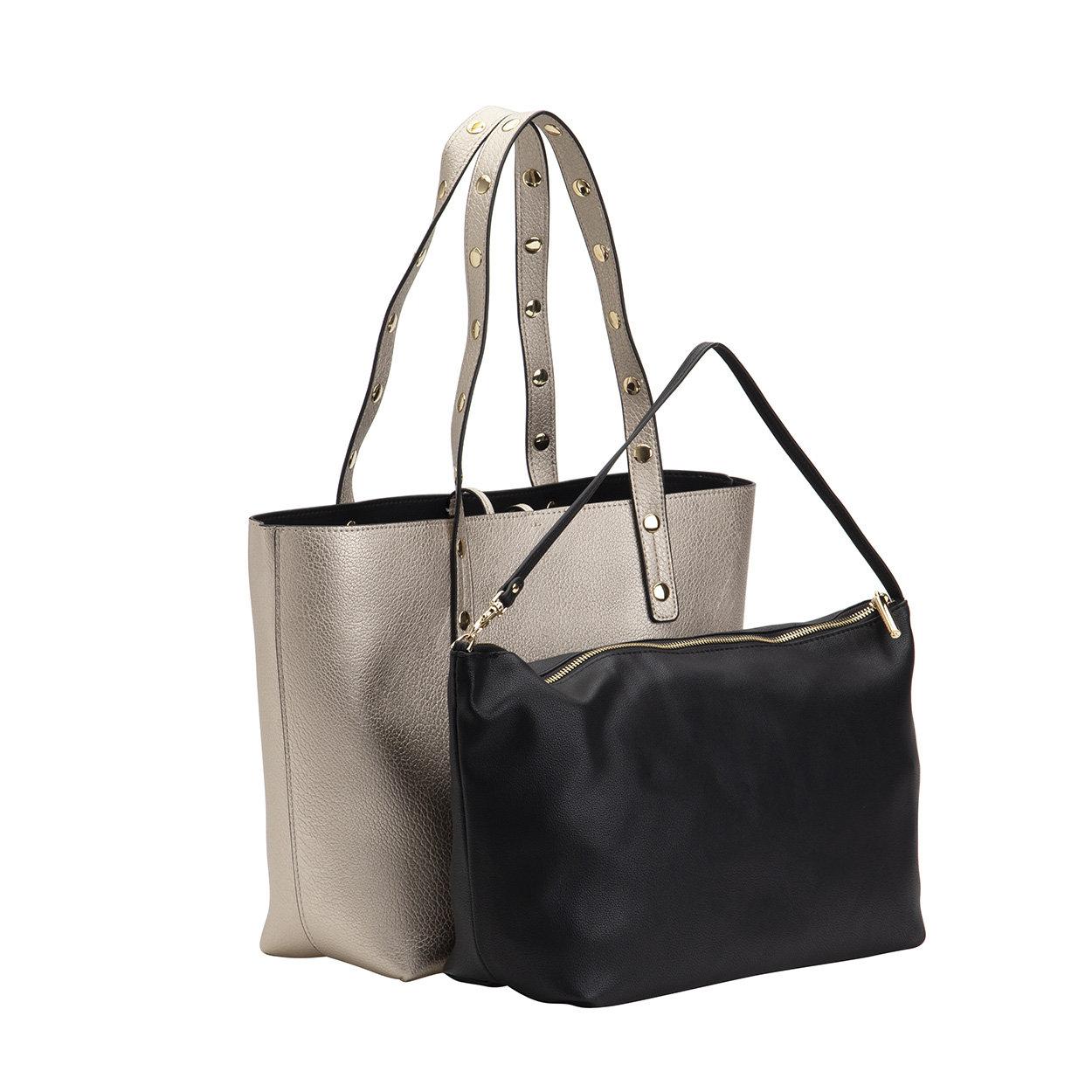 Shopping reversibile platino e nero Liu Jo Borse Acquista su Ventis.