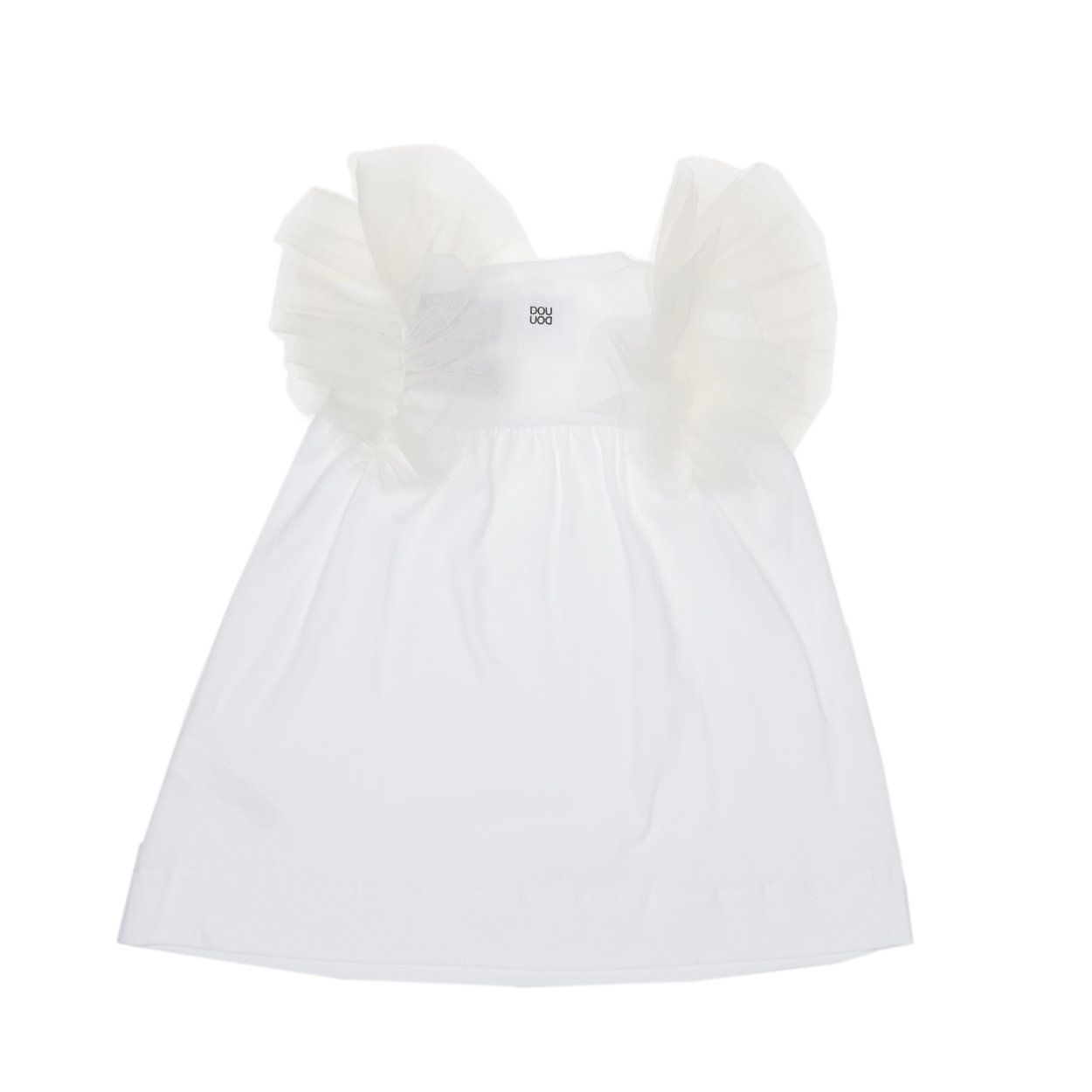 Image of Abito Bimba bianco con frappe in tulle sulle spalle