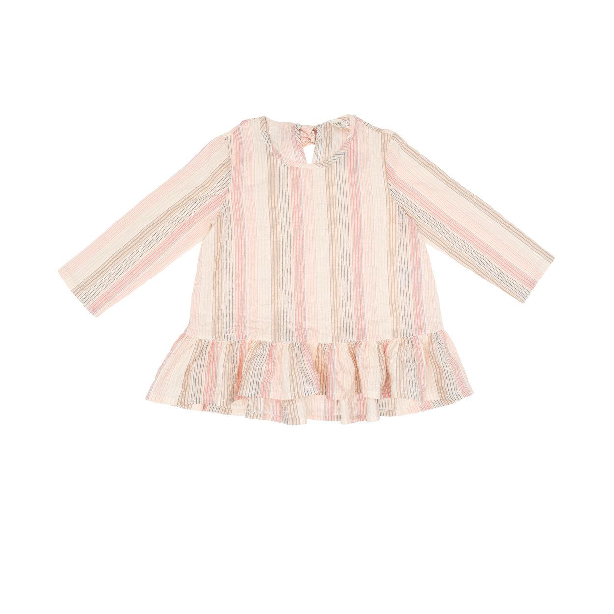 Image of Blusa con chiusura fiocco sul retro mille righe rosa