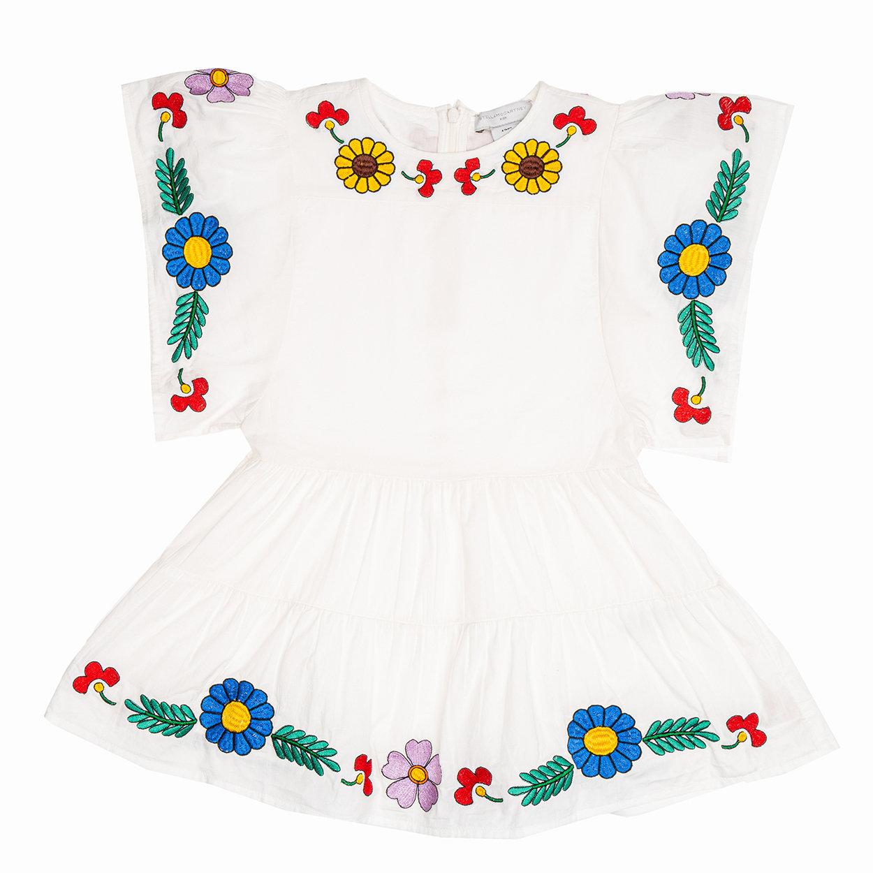 Image of Abito bimba con ampie maniche e gonna ricamate con fiori multicolor