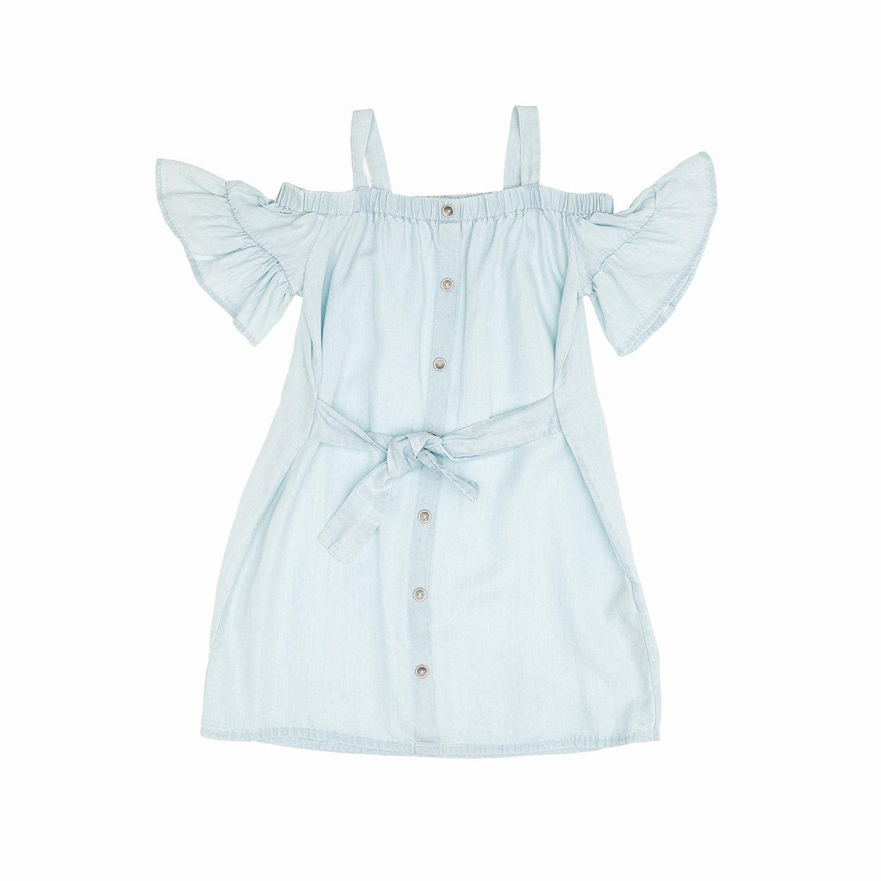 Image of Abitino azzurro con bottoni e cintura