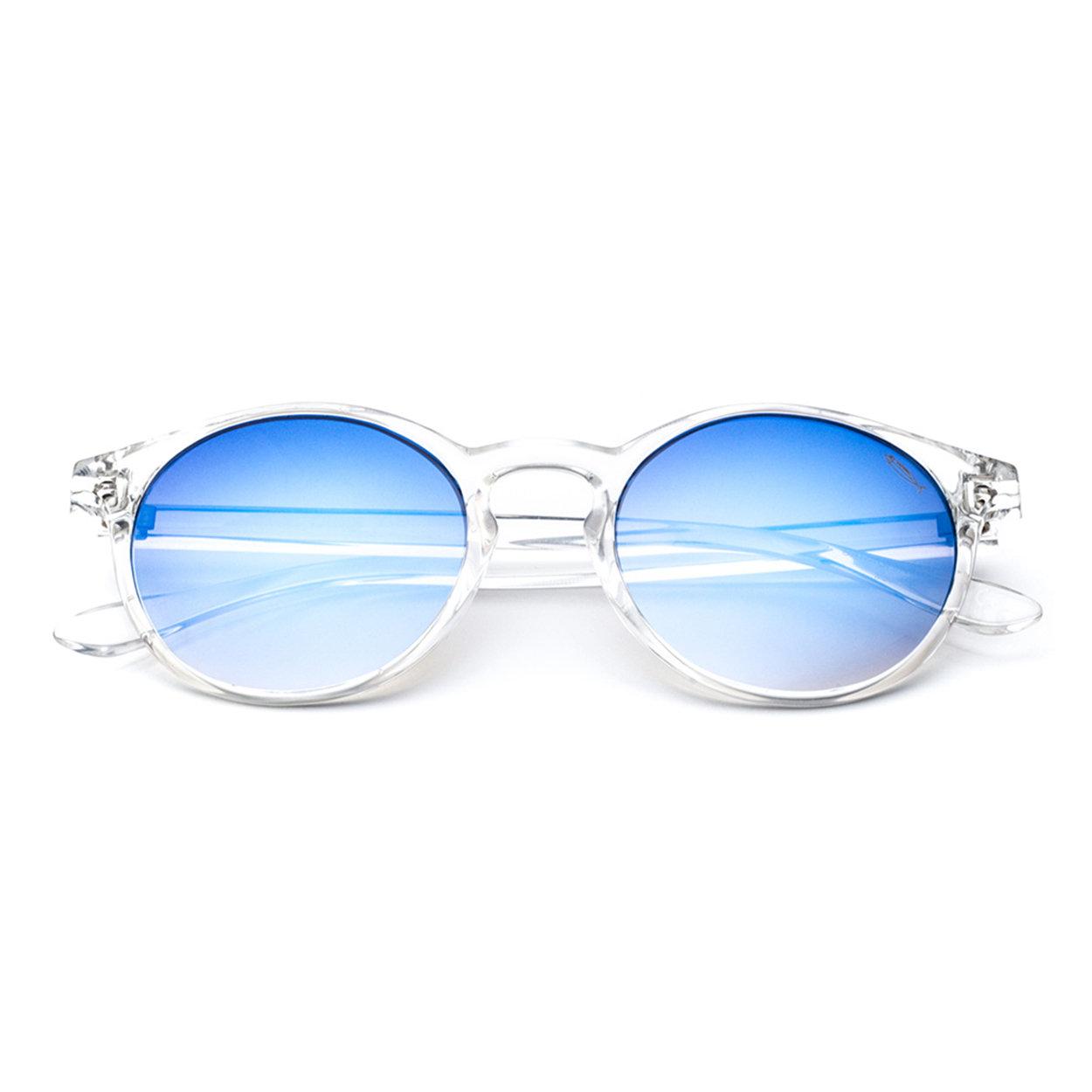 Image of Occhiali da sole Gilda sole cristallo lucido lente flash blu