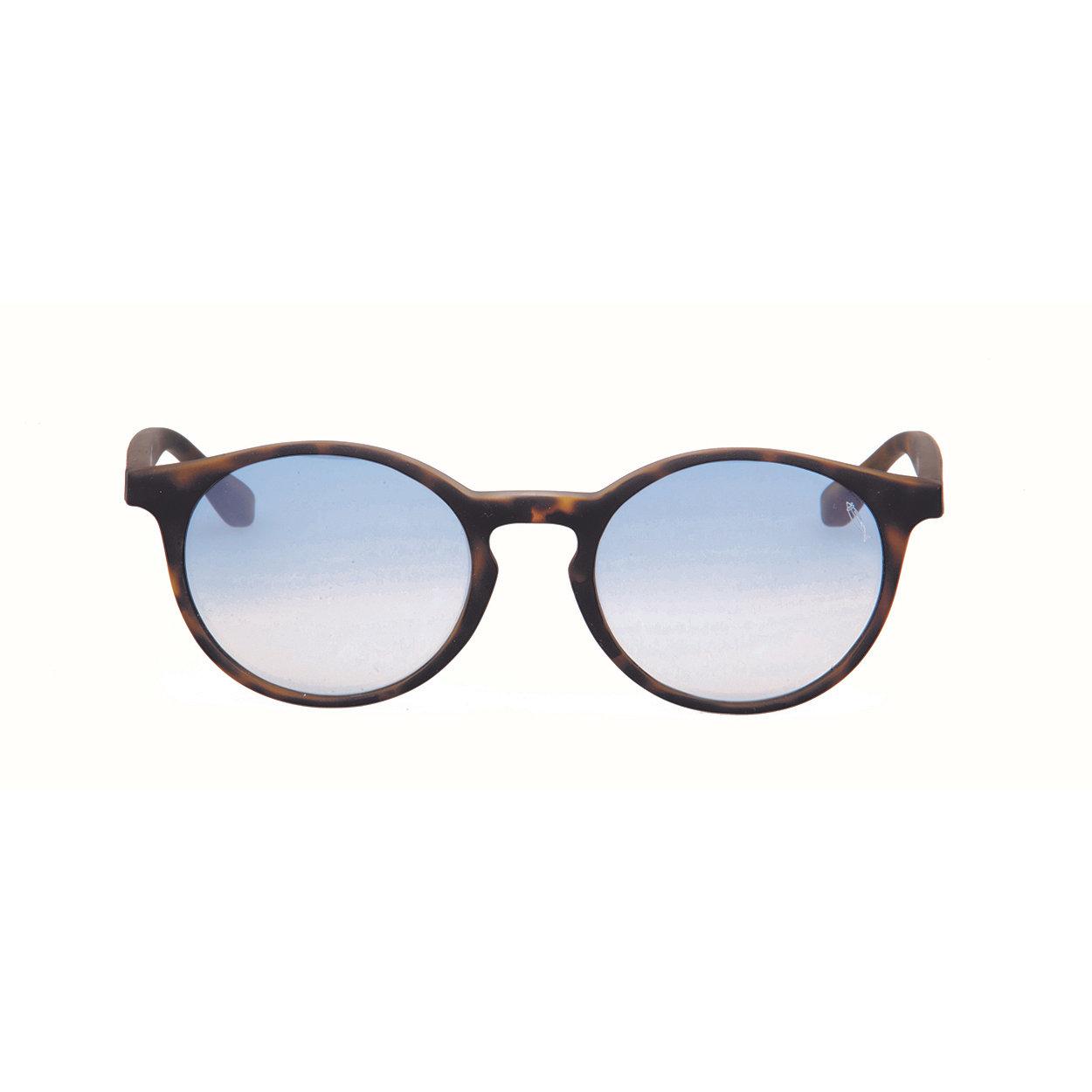 Image of Occhiali da sole Gilda sole tartarugato scuro satinato lente sfumata azzurra