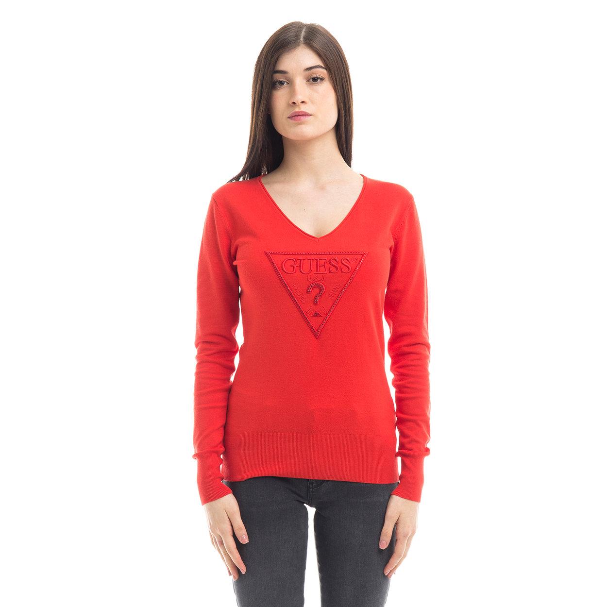 Maglia a V con logo rossa Guess Acquista su Ventis.