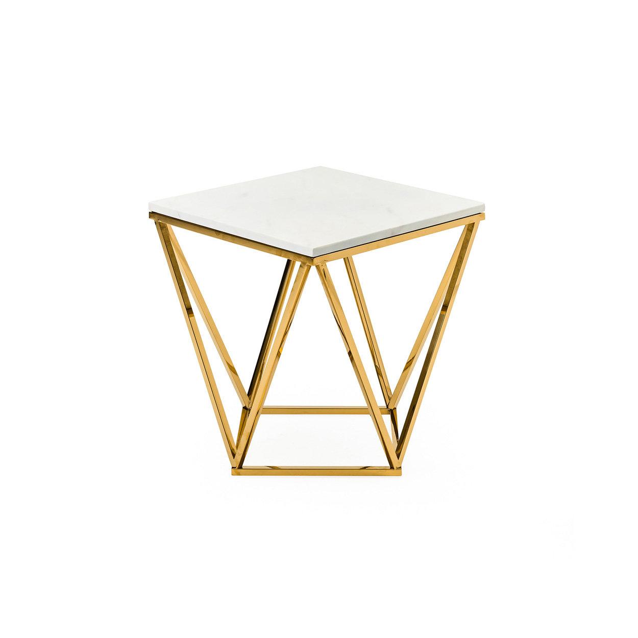 Image of Tavolino lato divano, oro/bianco