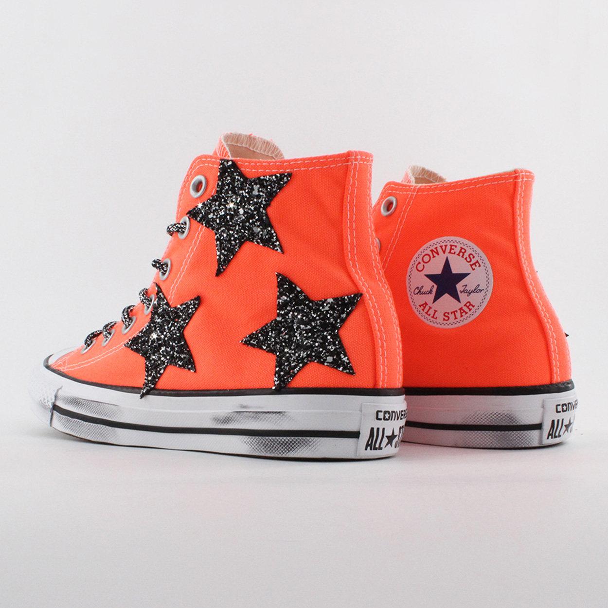 CONVERSE ALL STAR Sneackers alta in tela con inserti stelle glitterate arancioni