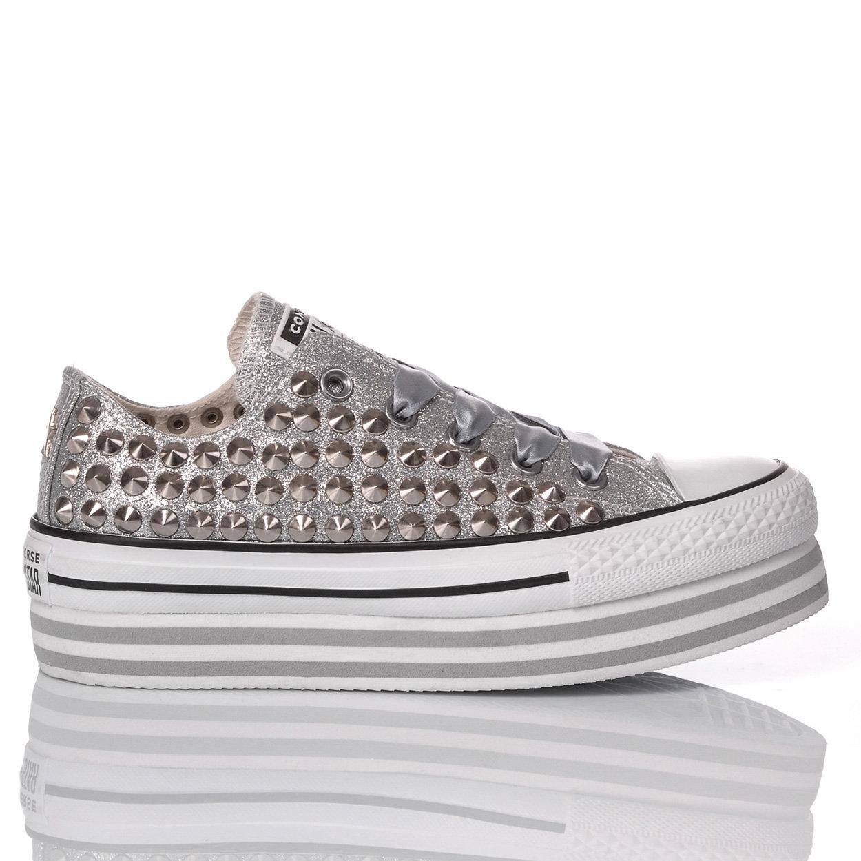 CONVERSE ALL STAR Sneakers glitterate con borchie all over grigie
