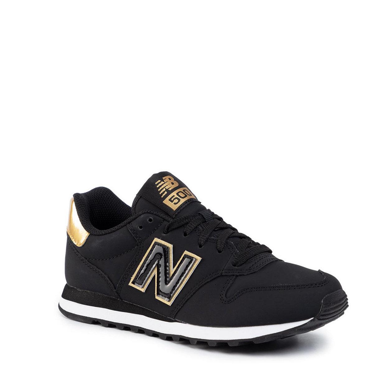 Sneakers modello 500 nere con logo applicato e dettagli oro