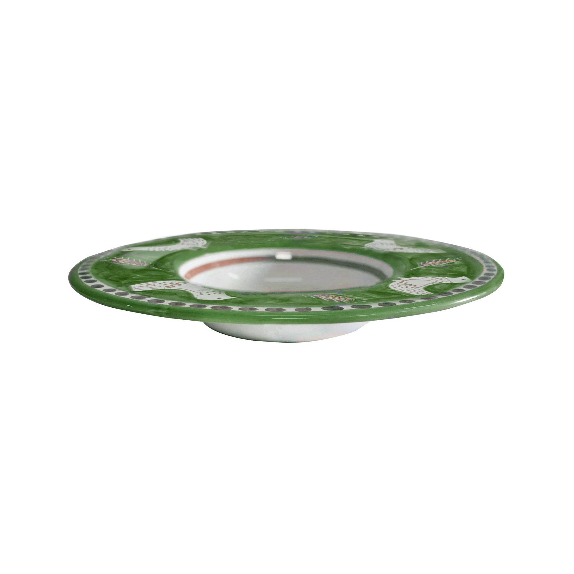 piuma verde piatto gourmet cm. 30