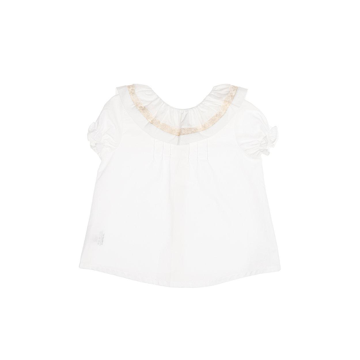Image of Blusa in cotone bianca con colletto bianca