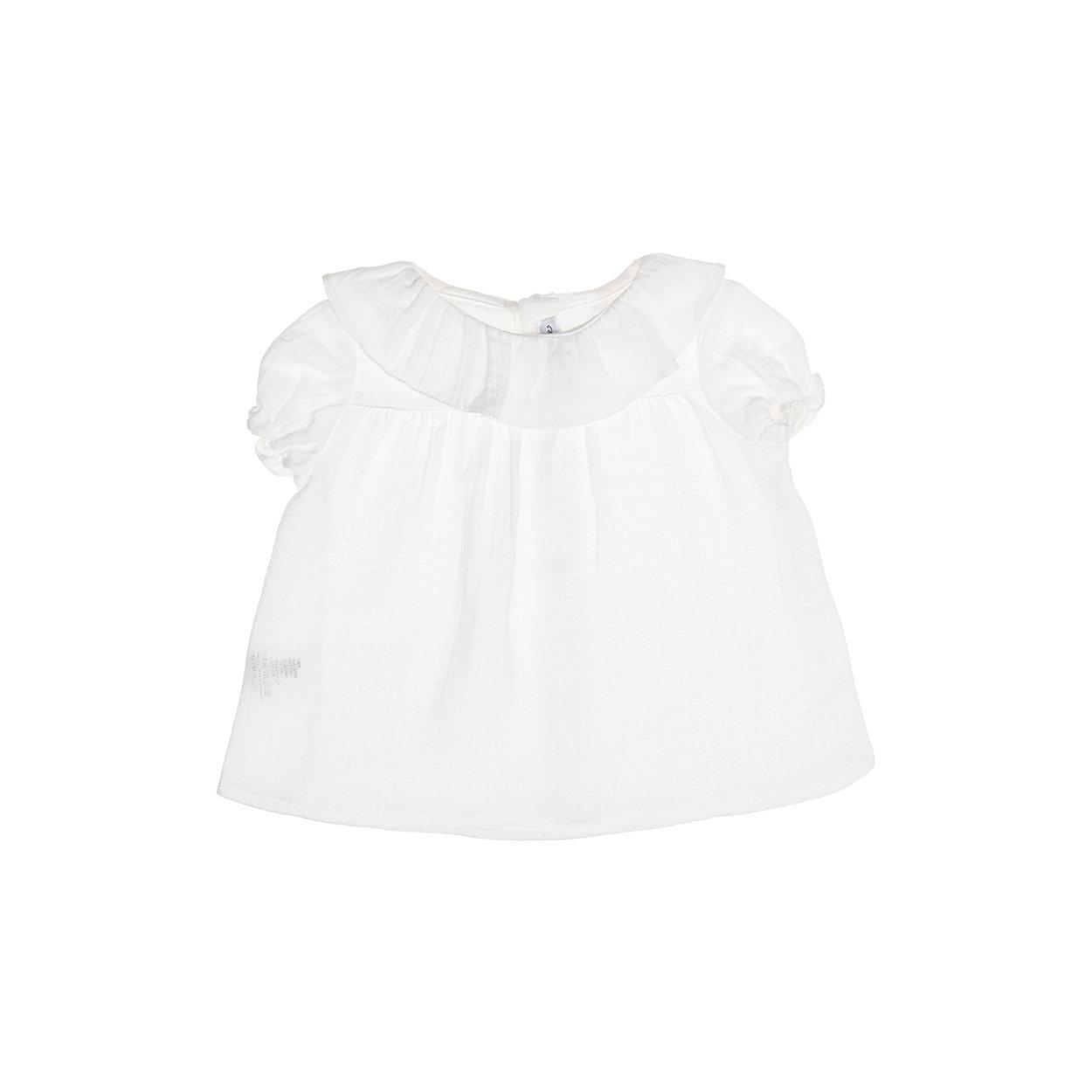 Image of Blusa in cotone bianca con colletto