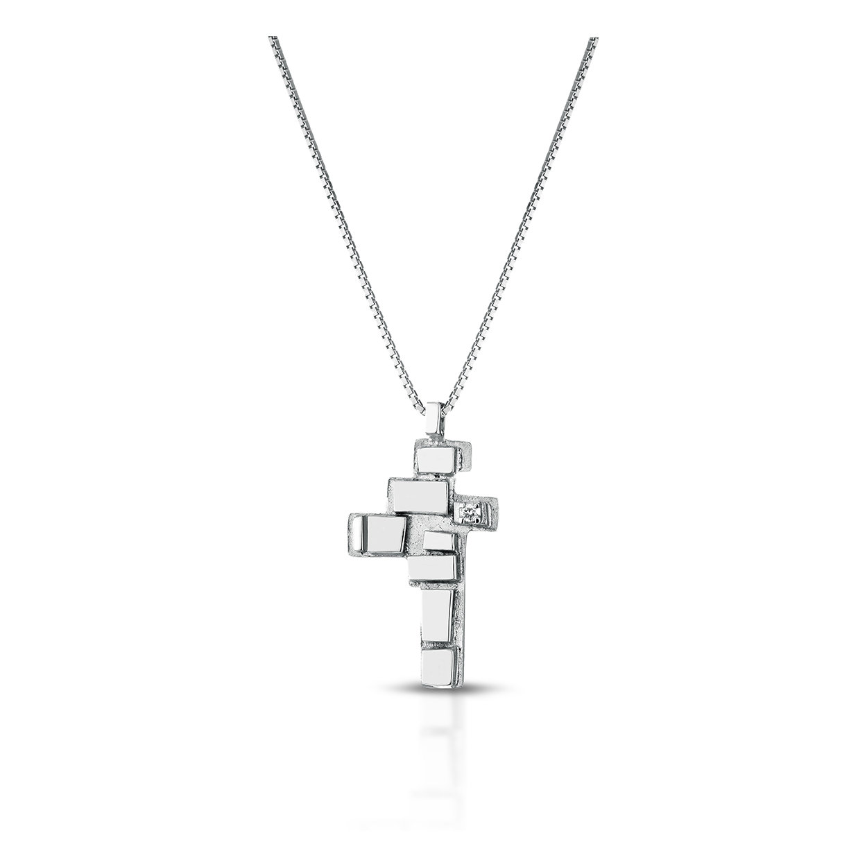 Pendente linea Segno in argento e 1 diamante naturale con giro gola in argento