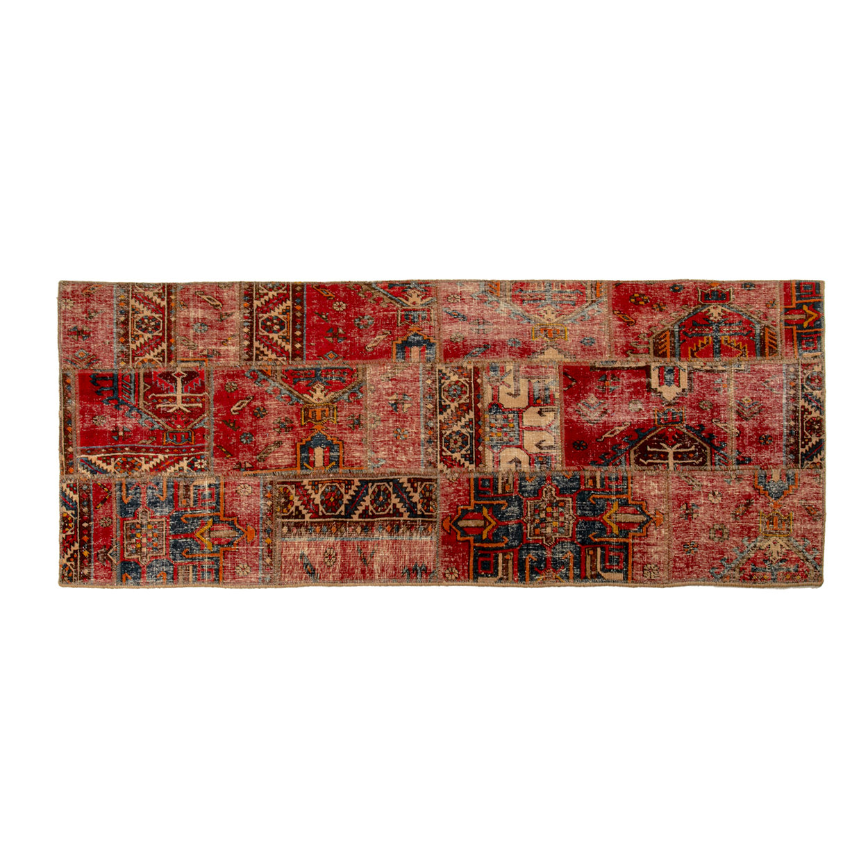 Image of Tappeto Vintage Patchwork 202x80, multicolore