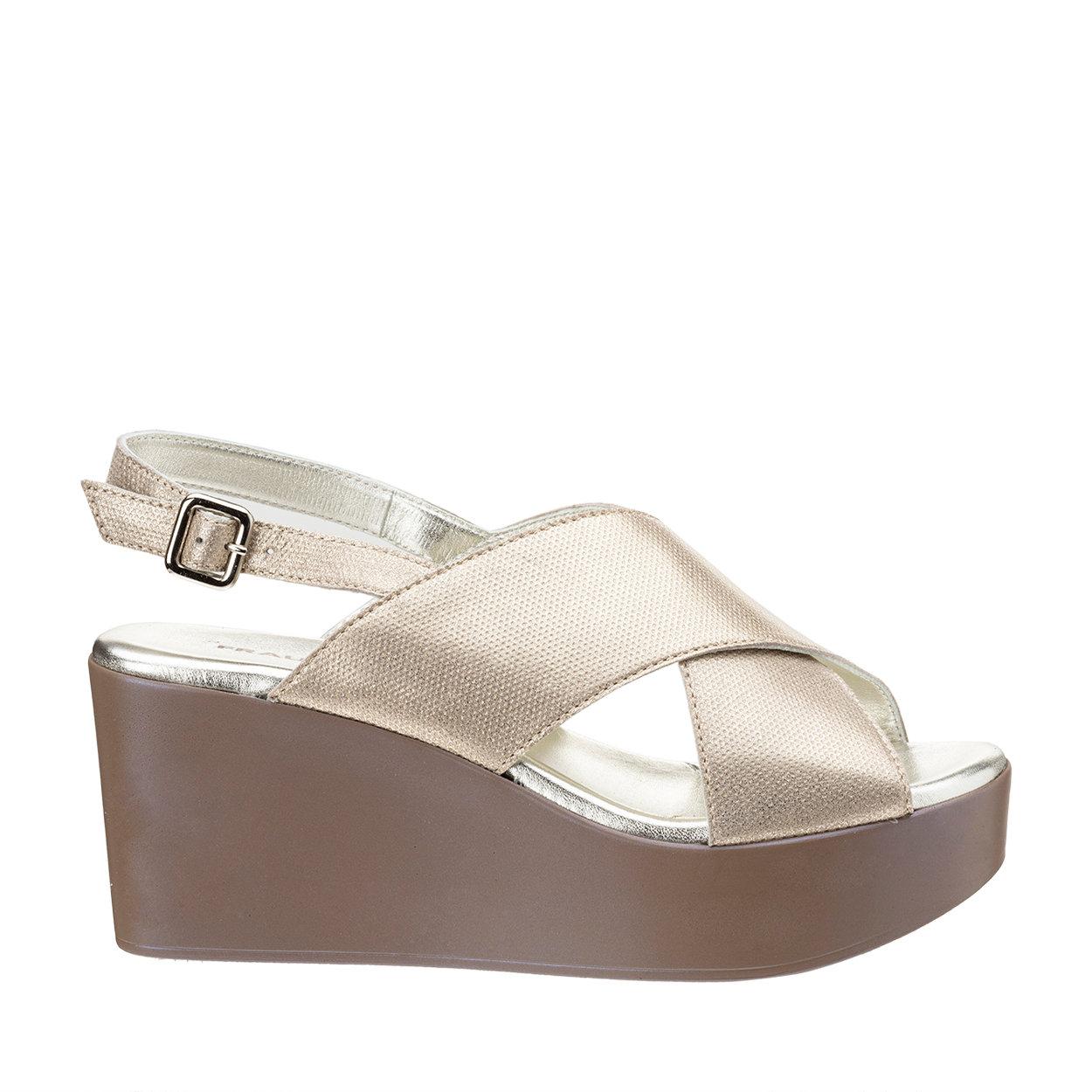 Sandali con zeppa platino
