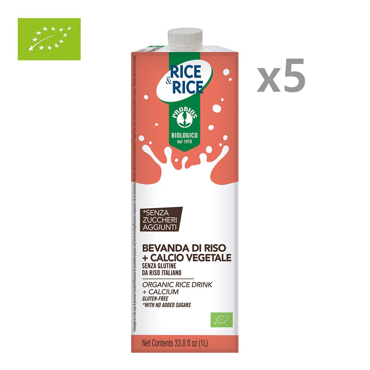 5 brik da 1 lt - Bevanda di Riso con Calcio Vegetale