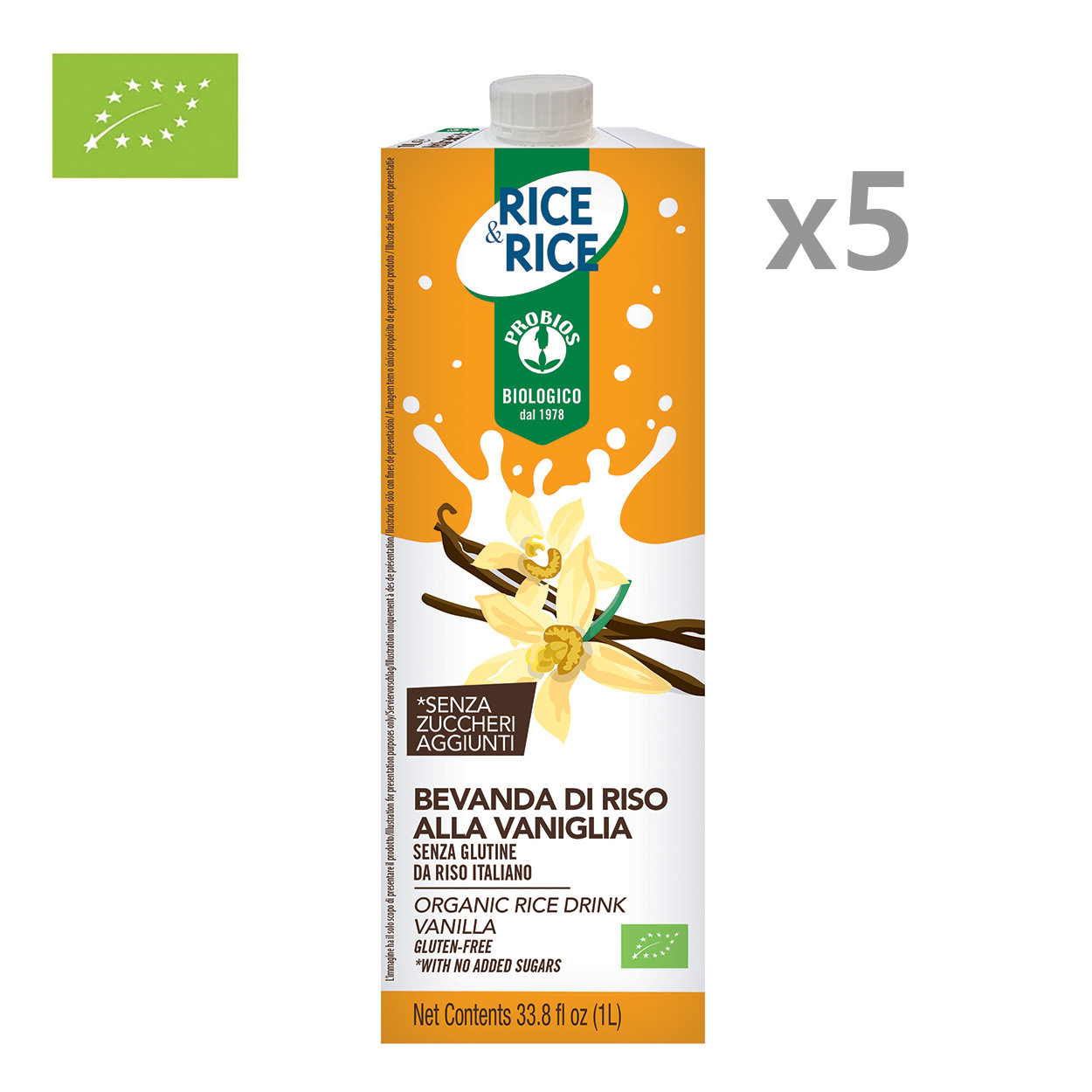 5 brik da 1 lt - Bevanda di Riso alla Vaniglia