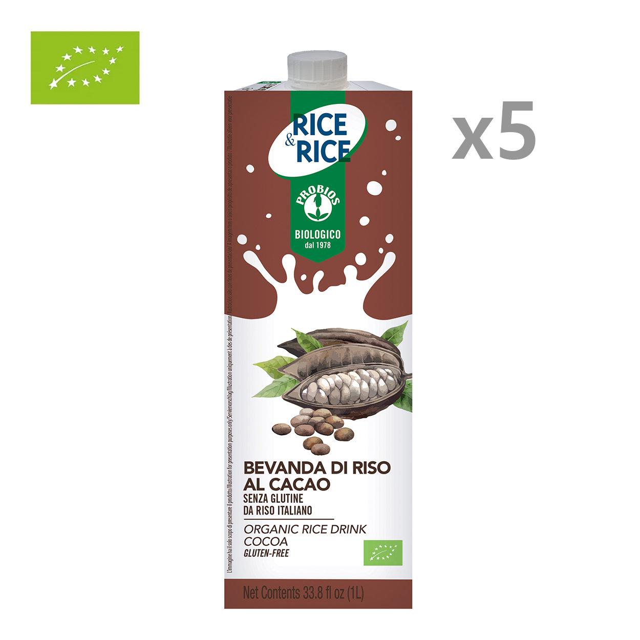 5 brik da 1 lt - Bevanda di Riso al Cacao