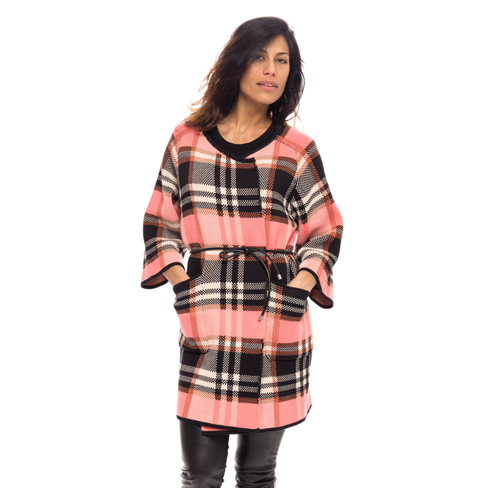 buy popular 04404 042c0 Cappotto jacquard Pinko, nero rosa - Pinko - Acquista su Ventis.