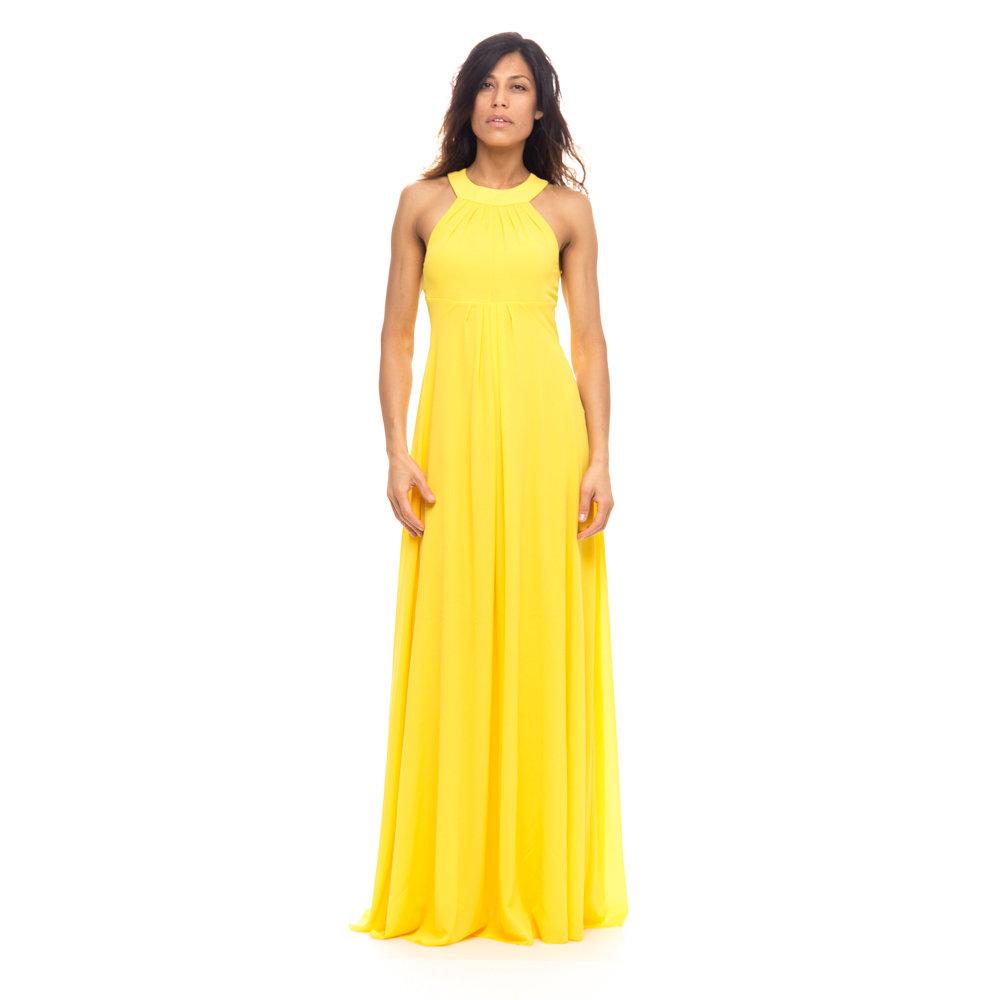 Vestito lungo giallo pinko