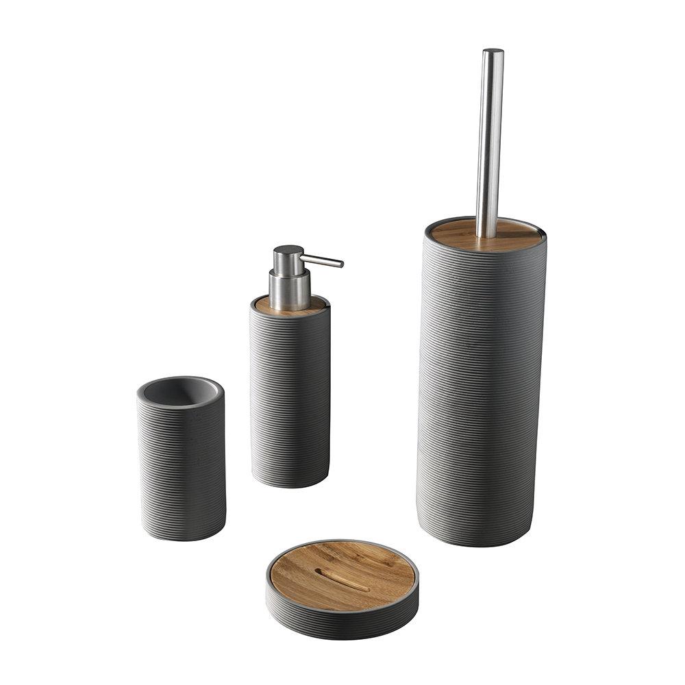 Set 4 accessori bagno in poliresina e bamboo, marrone - Bagno ...