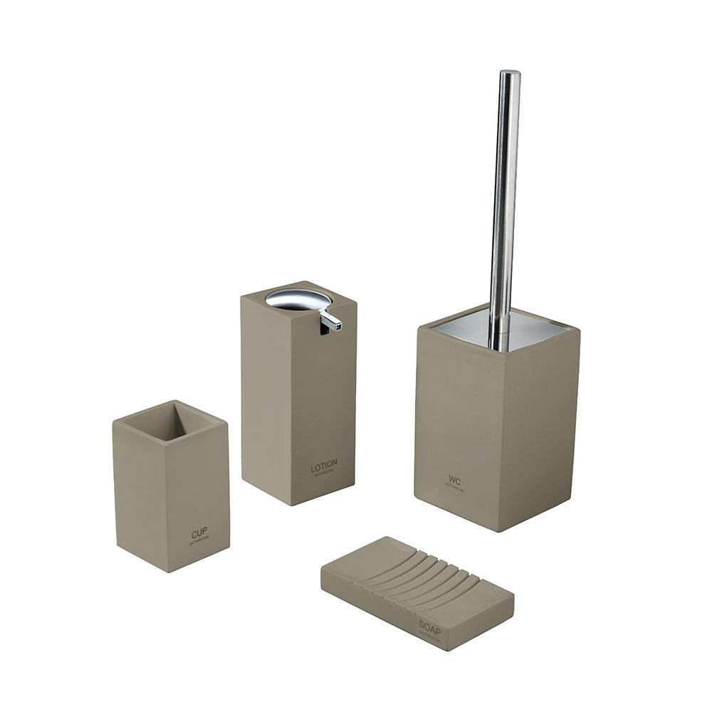 Set 4 accessori bagno in poliresina e cromo, marrone - Bagno ...