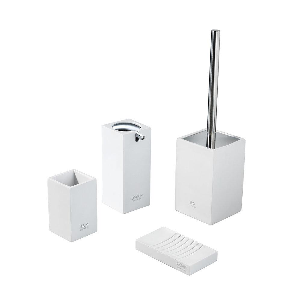 Set 4 accessori bagno in poliresina e cromo, bianco - Bagno moderno ...