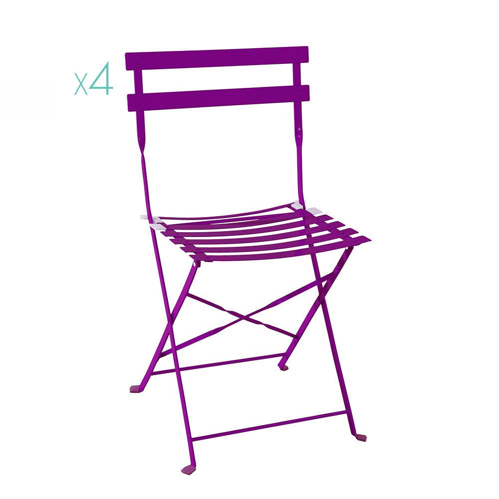 Sedie In Metallo Da Esterno.Set 4pz Sedia Pieghevole Da Esterno Vieste In Metallo Viola