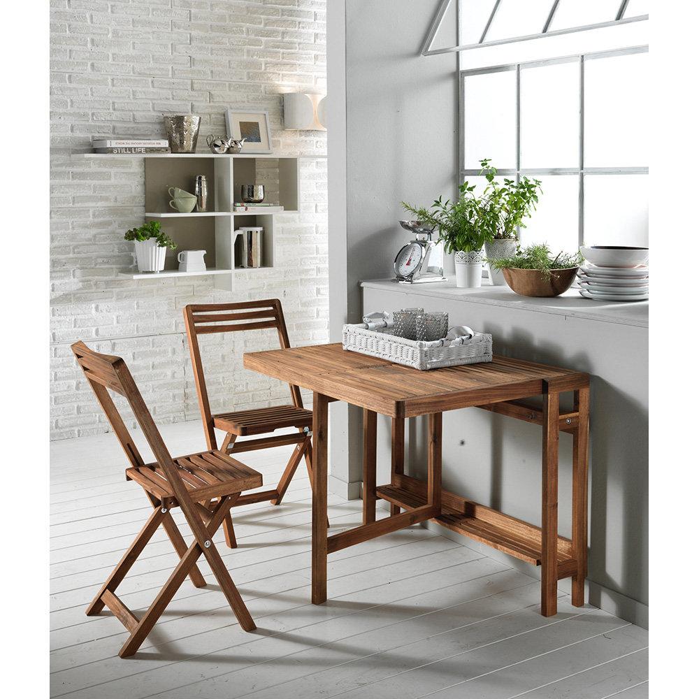 Tavolo consolle cahul con 2 sedie in legno di acacia for Tavolo consolle con sedie