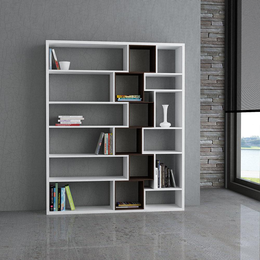 Libreria Roscoe Bookcase, bianco/wenge - Modern Library