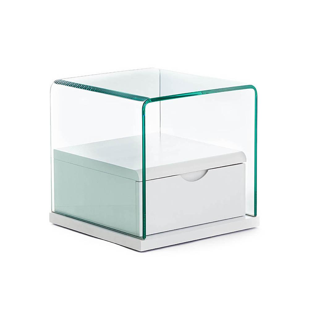 Tavolino/comodino Momo in vetro curvato trasparente - Iplex - Acquista su  Ventis.