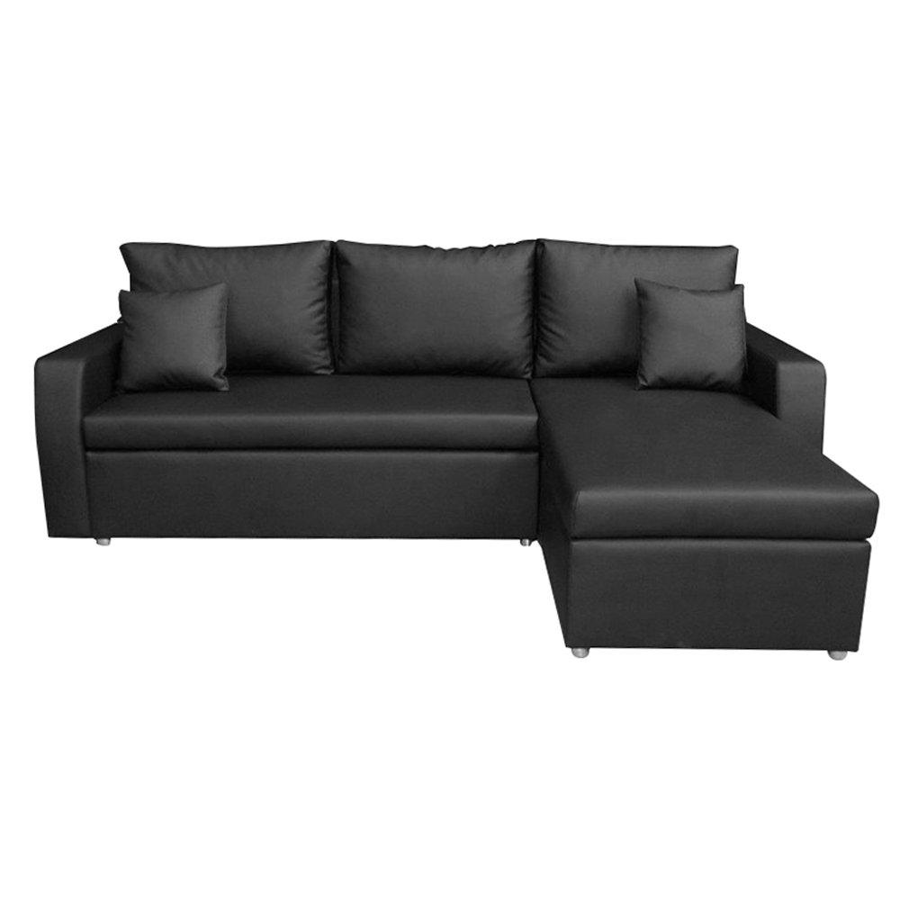 Divano letto terry in ecopelle nero comfort e stile acquista su ventis - Pulizia divano ecopelle ...